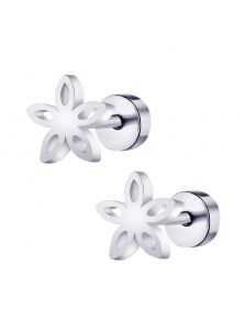 Серьги-пуссеты - Металлический цветок