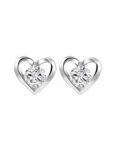 Серьги - Сердце с камнем