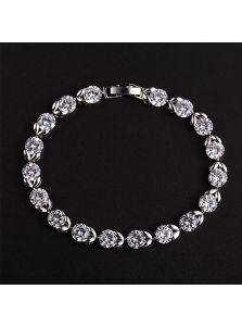 Вечерний браслет - Цветок с кристаллом