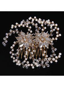 Свадебный гребень - Металлические цветы