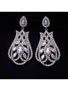 Свадебные серьги - Бутон с бриллиантом