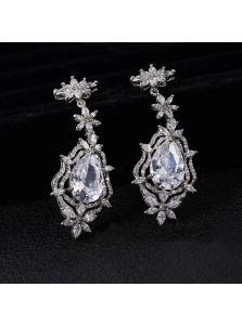 Свадебные серьги - Кристальная композиция