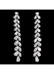 Свадебные серьги - Кристальная веточка
