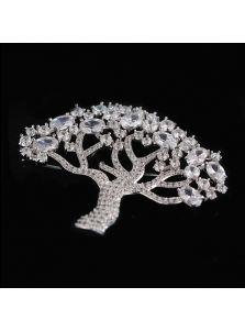 Женская брошь - Фианитовое древо