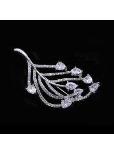 Женская брошь - Фианитовый листочек