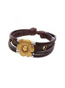 Женский кожаный браслет - Цветок