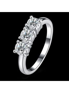 Женское кольцо - Тройной камень