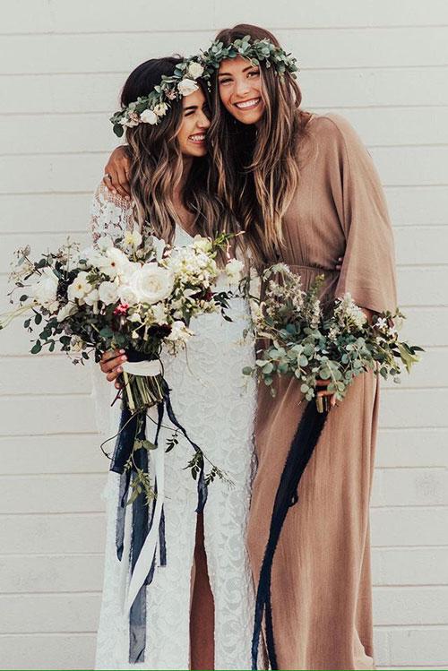 Современные крупные свадебные венки